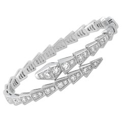 Bvlgari Serpenti 18k White Gold Full Diamond Pave Bangle Bracelet Size Small