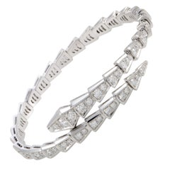 Bvlgari Serpenti 18K White Gold Full Diamond Pave Bracelet Size Large