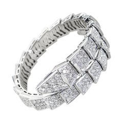 Bvlgari Serpenti 18K White Gold Full Diamond Pave Bracelet Size Small
