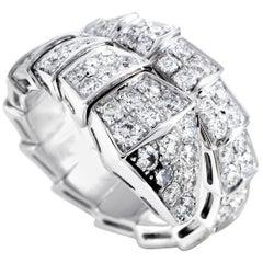 Bvlgari Serpenti 18 Karat White Gold Full Diamond Pave Snake Ring Size Large