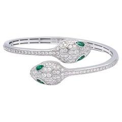 Bvlgari Serpenti Diamond Bangle Bracelet 1.66 Ct Emerald Eyes 18K Small