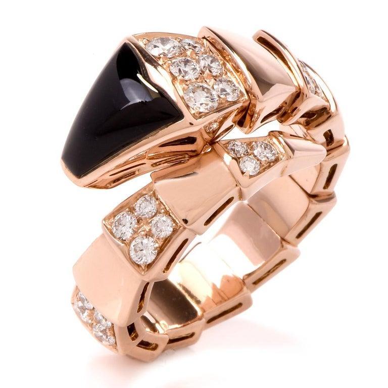 Round Cut Bvlgari Serpenti Diamond Onyx 18 Karat Rose Gold Ring For Sale