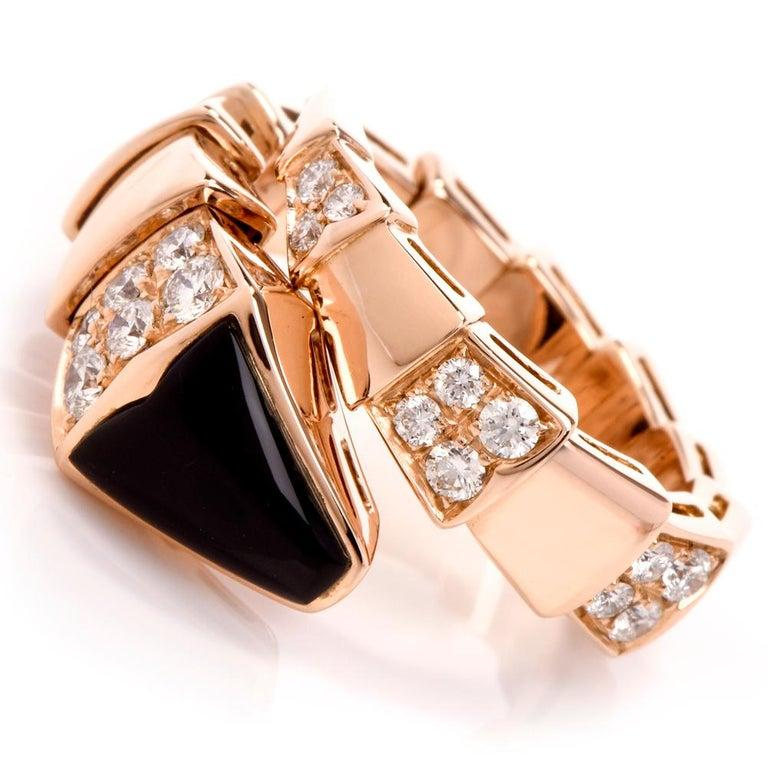 Women's Bvlgari Serpenti Diamond Onyx 18 Karat Rose Gold Ring For Sale
