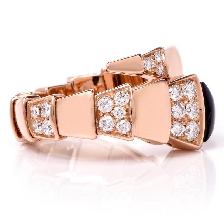 Bvlgari Serpenti Diamond Onyx 18 Karat Rose Gold Ring For Sale 1