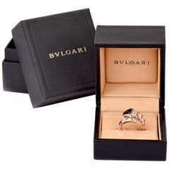 Bvlgari Serpenti Diamond Onyx 18 Karat Rose Gold Ring