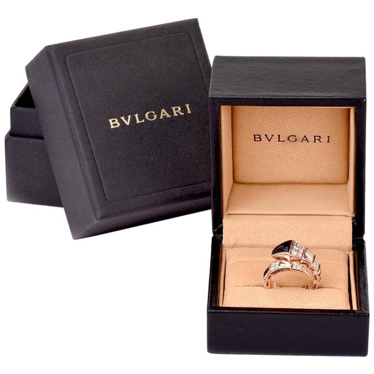 Bvlgari Serpenti Diamond Onyx 18 Karat Rose Gold Ring For Sale