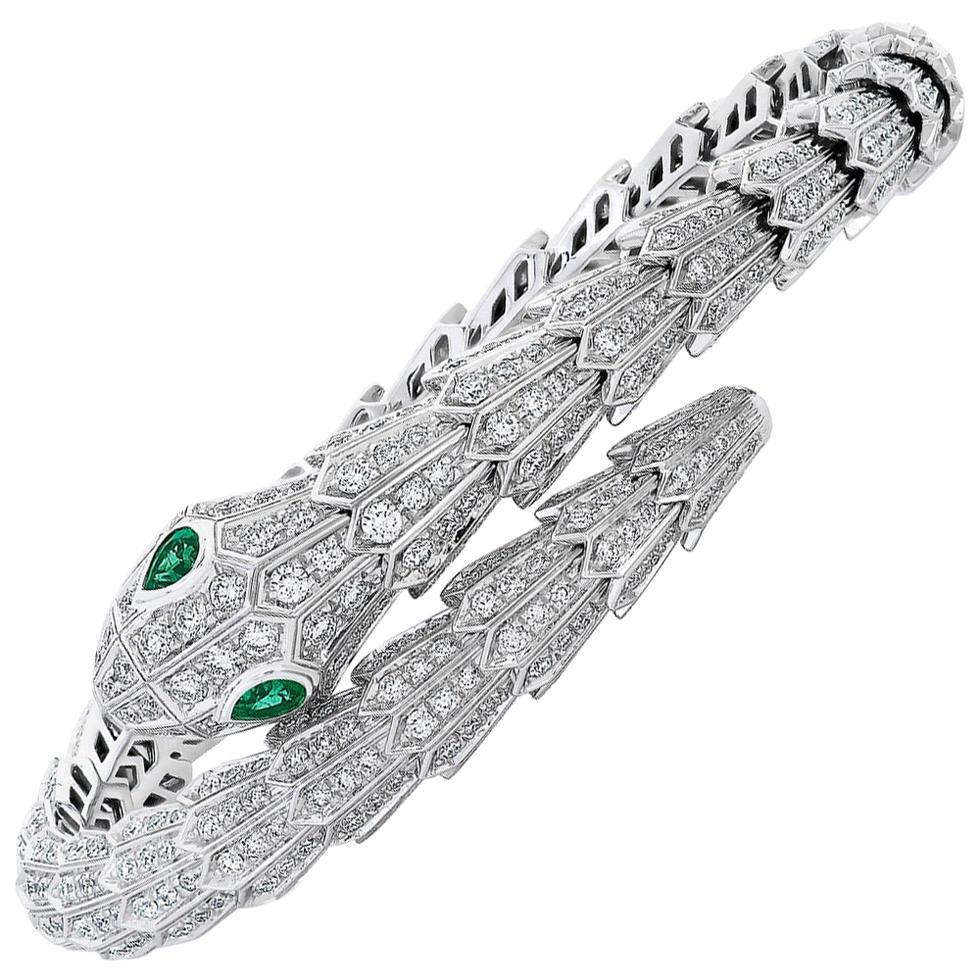 Bulgari Serpenti Diamond Snake Bangle Bracelet with Emerald Eyes in 18kw Gold