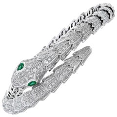 Bulgari Serpenti Diamond Snake Bangle Bracelet with Emerald Eyes in 18kw Gold