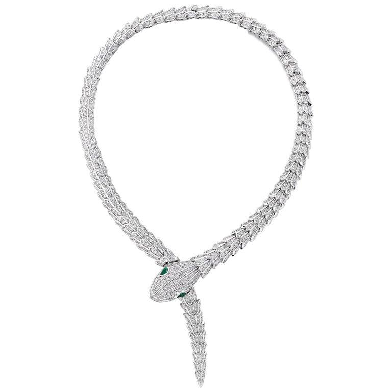 Bulgari Serpenti Diamond Snake Necklace with Emerald Eyes in 18 Karat White Gold