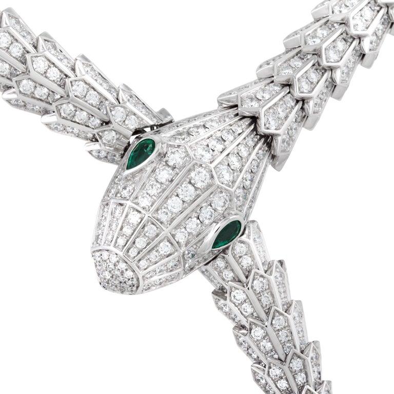 Bulgari Serpenti Diamond Snake Necklace with Emerald Eyes in 18 Karat White Gold 2