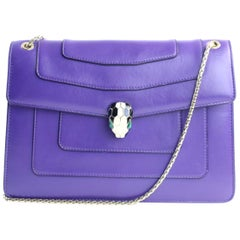 BVLGARI Serpenti Forever Flap Cover 3mr0625 Purple Leather Shoulder Bag