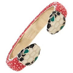 Bvlgari Serpenti Forever Pink Galuchat Leather Open Cuff Bracelet