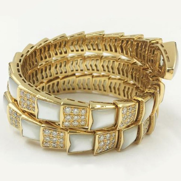 Round Cut Bvlgari Serpenti Mother of Pearl 18 Karat Yellow Gold Wrap Around Pave Bracelet For Sale