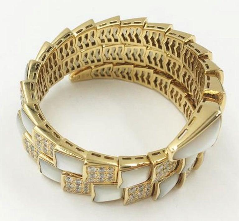Women's or Men's Bvlgari Serpenti Mother of Pearl 18 Karat Yellow Gold Wrap Around Pave Bracelet For Sale