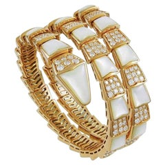 Bvlgari Serpenti Mother of Pearl 18 Karat Yellow Gold Wrap Around Pave Bracelet