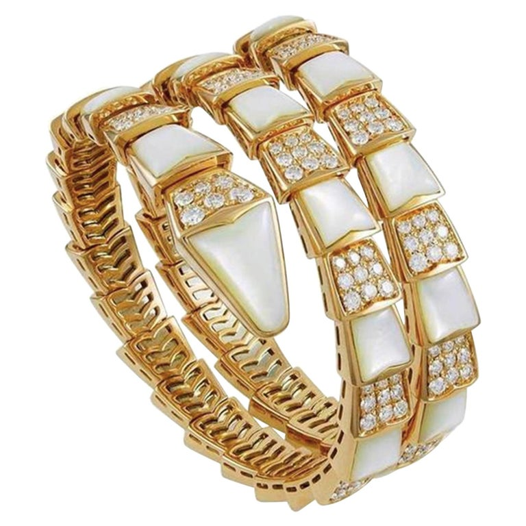 Bvlgari Serpenti Mother of Pearl 18 Karat Yellow Gold Wrap Around Pave Bracelet For Sale