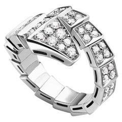 Bvlgari Serpenti One-Coil Ring in 18 Karat White Gold Set with Full Pave Diamond