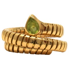 Bvlgari Serpenti Peridot 18 Karat YG Flexible Ring