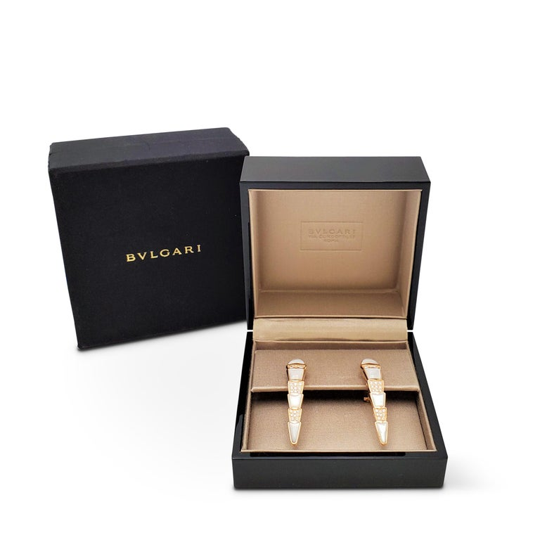 Women's Bvlgari 'Serpenti' Rose Gold Diamond and Mother of Pearl Earrings For Sale