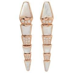 Bvlgari 'Serpenti' Rose Gold Diamond and Mother of Pearl Earrings