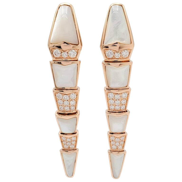 Bvlgari 'Serpenti' Rose Gold Diamond and Mother of Pearl Earrings For Sale