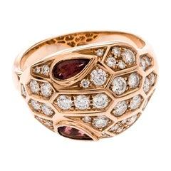Bvlgari Serpenti Rubellite Diamond 18k Rose Gold Cocktail Ring Size 52