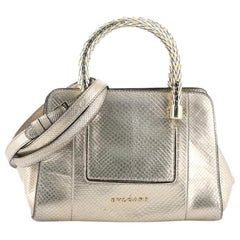 Bvlgari Serpenti Scaglie Tote Embossed Metallic Python Small