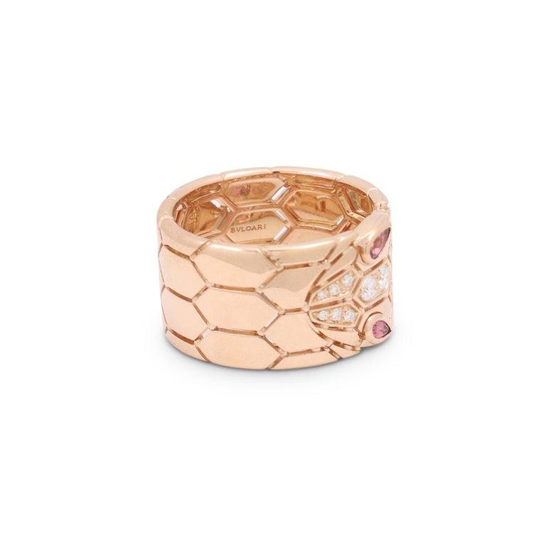 Bvlgari 'Serpenti Seduttori' Rose Gold Diamond and Rubellite Ring In Excellent Condition In New York, NY