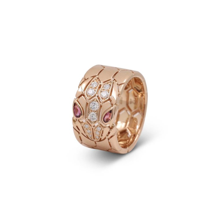 Women's or Men's Bvlgari 'Serpenti Seduttori' Rose Gold Diamond and Rubellite Ring