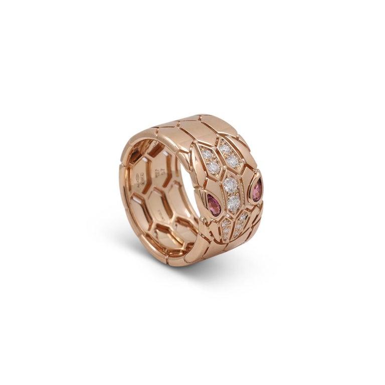 Bvlgari 'Serpenti Seduttori' Rose Gold Diamond and Rubellite Ring 1