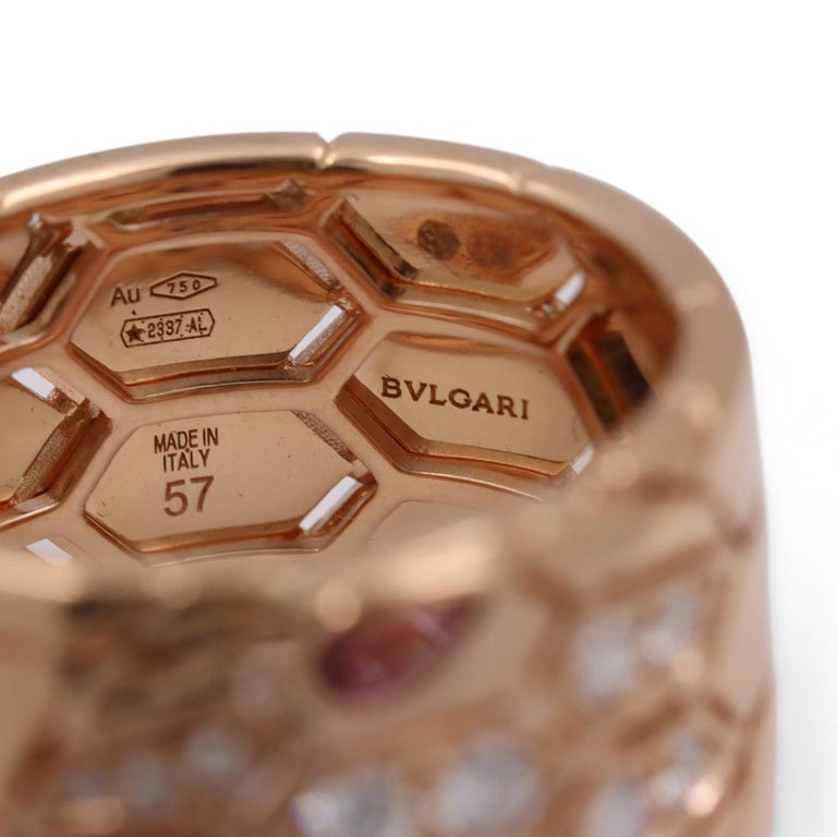 Bvlgari 'Serpenti Seduttori' Rose Gold Diamond and Rubellite Ring 2