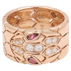 Bvlgari 'Serpenti Seduttori' Rose Gold Diamond and Rubellite Ring