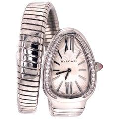 Bvlgari Serpenti Silver Dial Diamond Bezel Ladies Watch