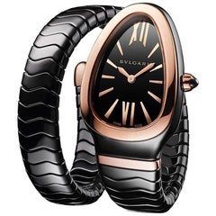 Bvlgari Serpenti Spiga Bracelet Watch Black Ceramic and 18 Karat Rose Gold