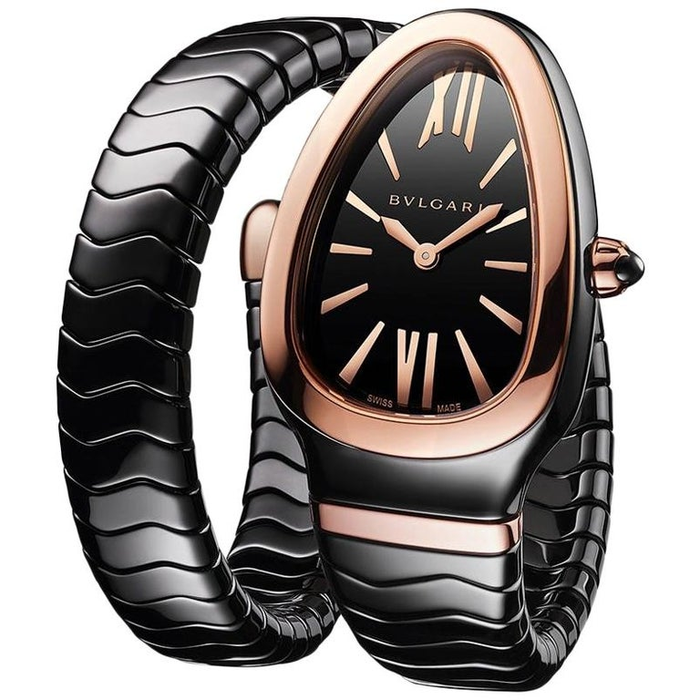 Bvlgari Serpenti Spiga Bracelet Watch Black Ceramic and 18 Karat Rose Gold For Sale
