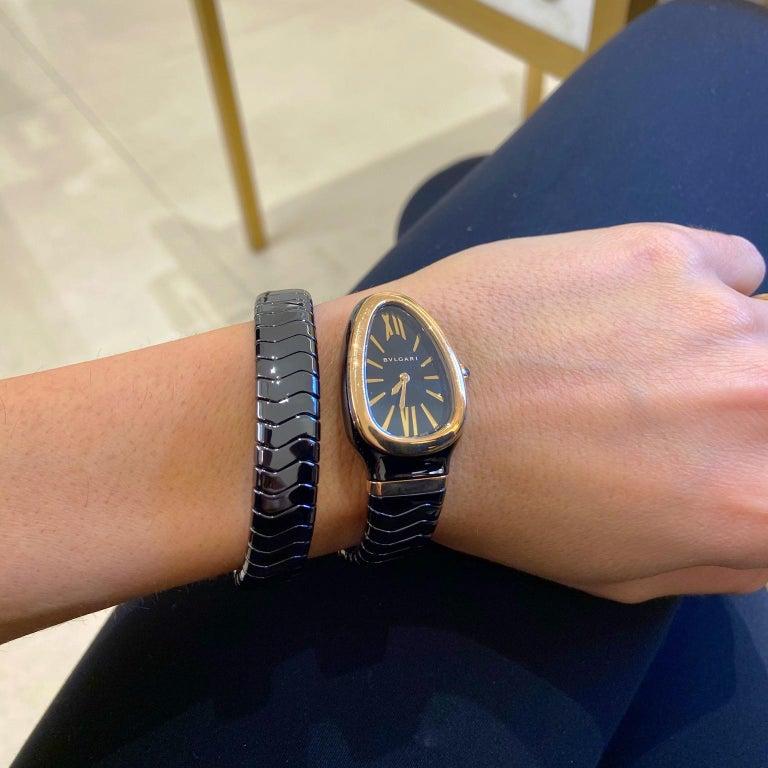 Contemporary Bvlgari Serpenti Spiga Bracelet Watch Black Ceramic and 18 Karat Rose Gold For Sale