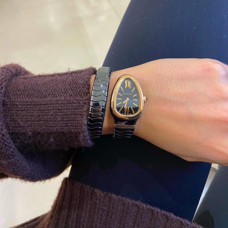Bvlgari Serpenti Spiga Bracelet Watch Black Ceramic and 18 Karat Rose Gold In New Condition For Sale In New York, NY