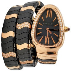 Bvlgari 'Serpenti Spiga' Double Spiral Ceramic Rose Gold and Diamond Watch