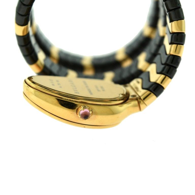 Women's or Men's Bvlgari Serpenti Spiga SP P 35G Rose Gold Ceramic Diamond Coil Watch For Sale