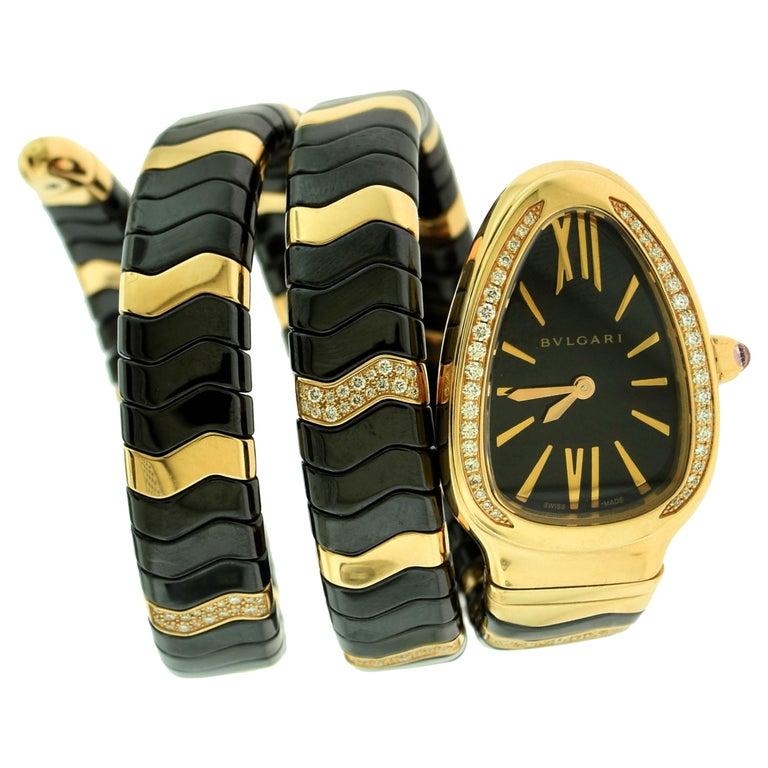 Bvlgari Serpenti Spiga SP P 35G Rose Gold Ceramic Diamond Coil Watch For Sale