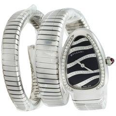 Bvlgari Serpenti Steel Diamond Black Lacquered Dial Quartz Ladies Watch 102441