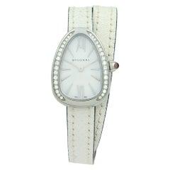 Bvlgari Serpenti Steel Leather White MOP Dial Diamond Quartz Ladies Watch 102781