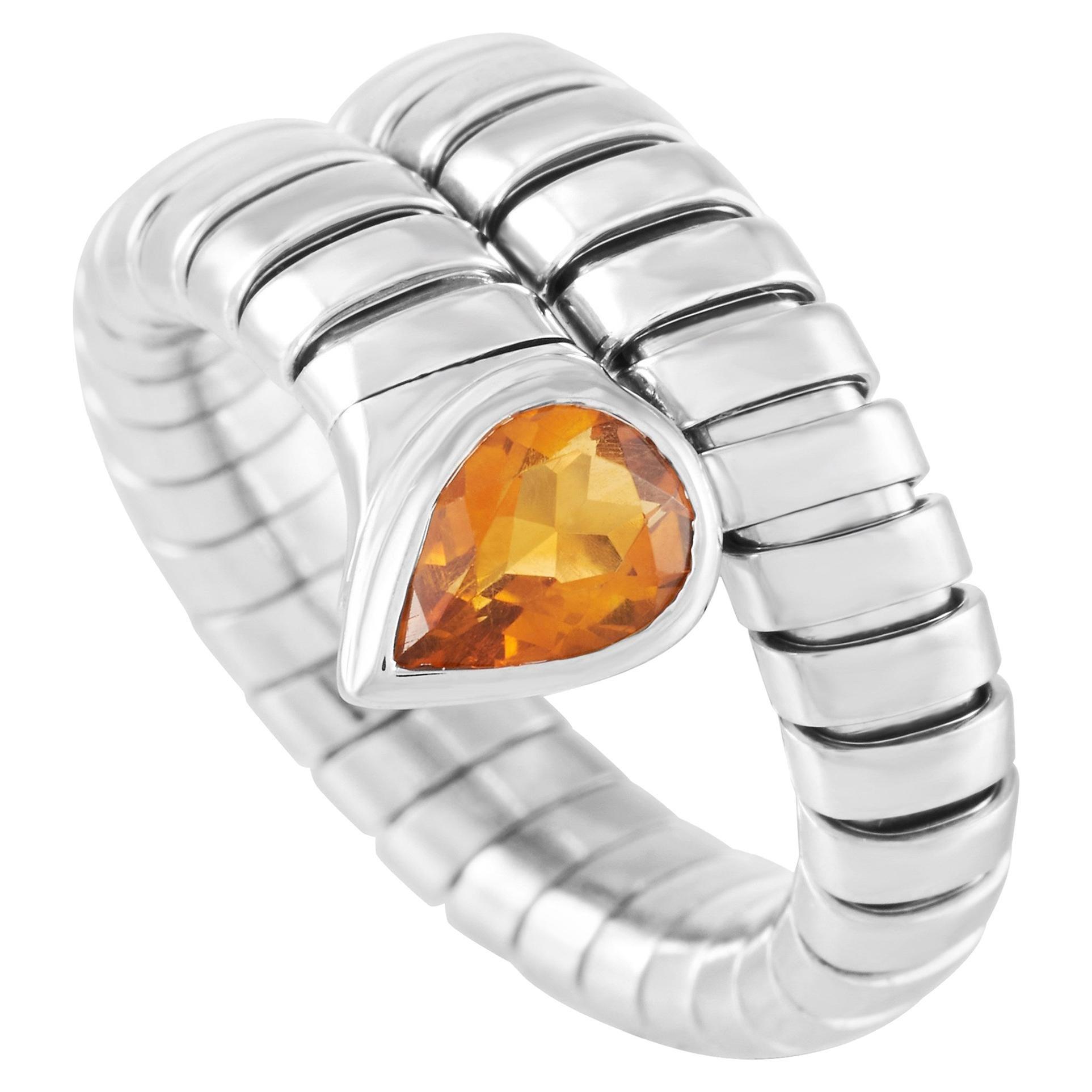 Bvlgari Serpenti Tubogas 18 Karat White Gold Citrine Ring