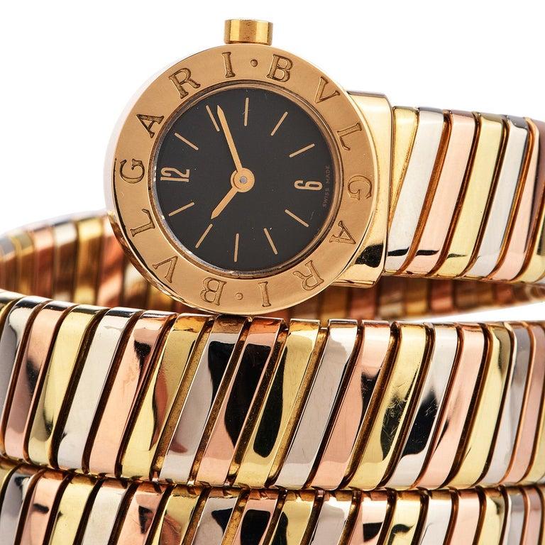 Modern Bvlgari Serpenti Tubogas 18K Tri-Color Gold Bracelet Bulgari Watch For Sale