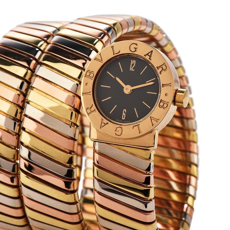 Bvlgari Serpenti Tubogas 18K Tri-Color Gold Bracelet Bulgari Watch In Excellent Condition For Sale In Miami, FL