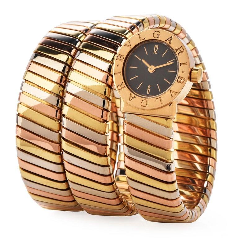 Women's Bvlgari Serpenti Tubogas 18K Tri-Color Gold Bracelet Bulgari Watch For Sale