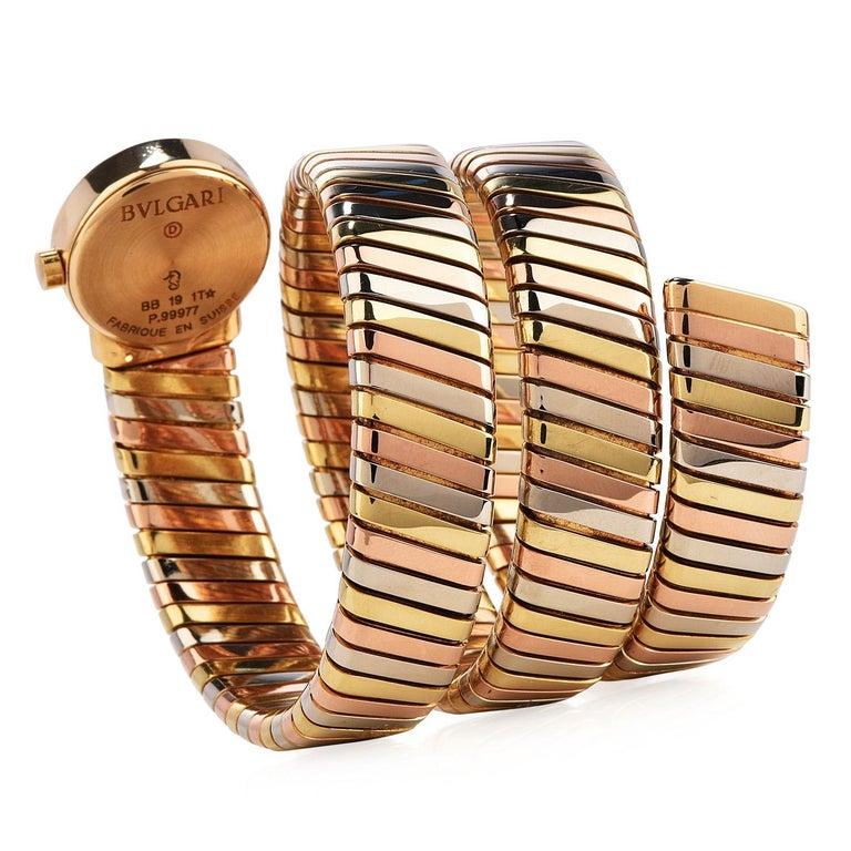 Bvlgari Serpenti Tubogas 18K Tri-Color Gold Bracelet Bulgari Watch For Sale 1