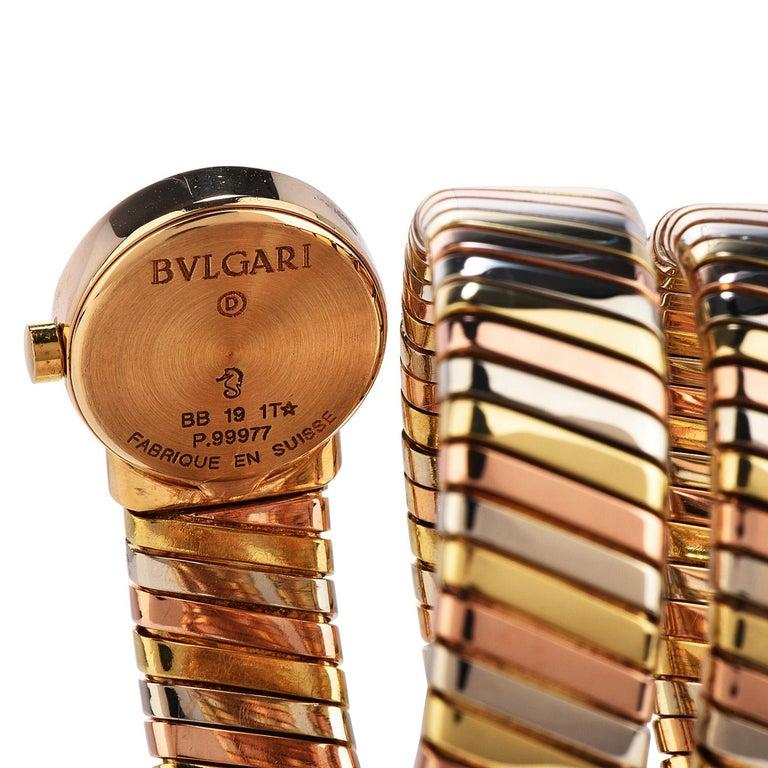 Bvlgari Serpenti Tubogas 18K Tri-Color Gold Bracelet Bulgari Watch For Sale 2