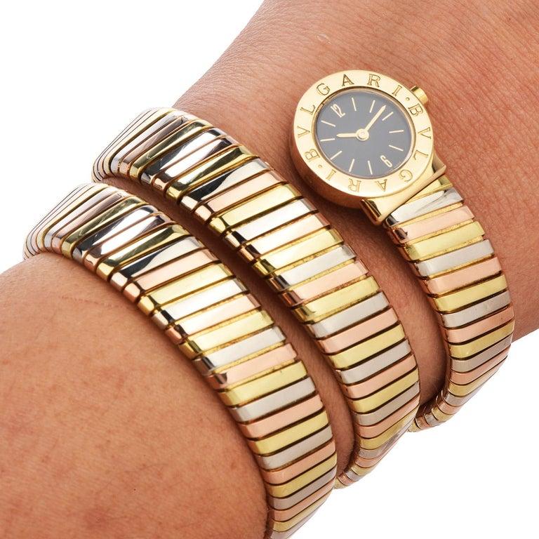 Bvlgari Serpenti Tubogas 18K Tri-Color Gold Bracelet Bulgari Watch For Sale 3