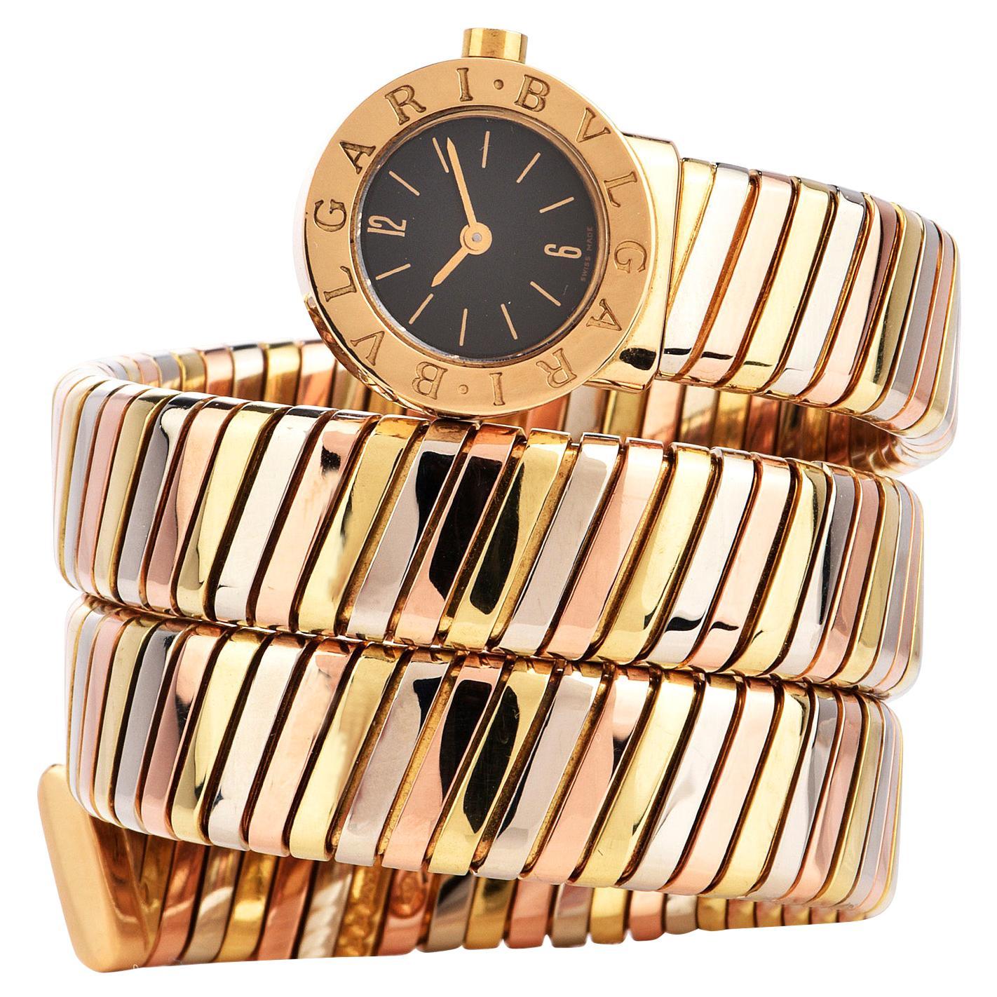 Bvlgari Serpenti Tubogas 18K Tri-Color Gold Bracelet Bulgari Watch